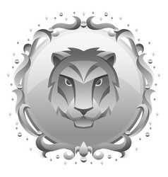 leo zodiac sign with silver frame horoscope vector image