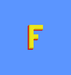 Logo f letter halftone colors typography print vector