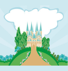 Magic fairytale princess castle vector
