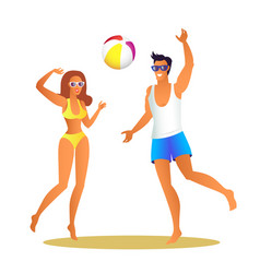 Man and woman in swimwear play volleyball on beach vector