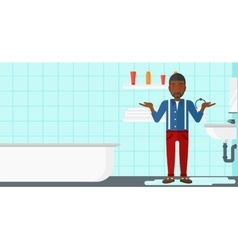 Man in despair standing near leaking sink vector image