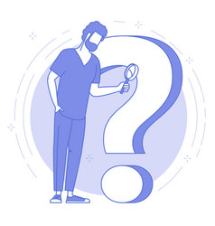 Man with magnifier and question mark vector