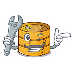Mechanic wooden steamed food container on cartoon vector