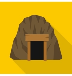 Mine in mountain icon flat style vector