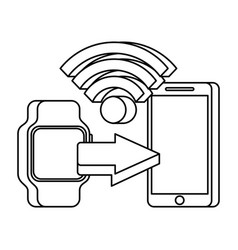 mobile payments with smart watch mobile phone vector image