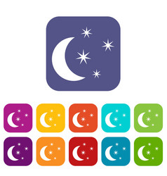 moon and stars icons set vector image