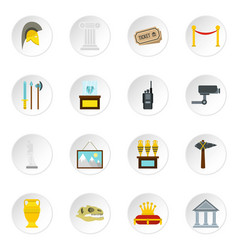 museum icons set flat style vector image