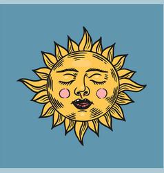 Mystical sleeping sun astronomy alchemy vector