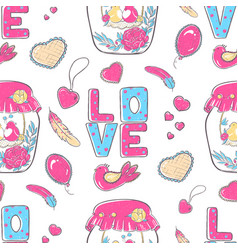 pattern lettering love stylized large letters on vector image