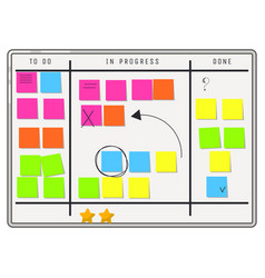 Planning whiteboard organizer with sticker notes vector