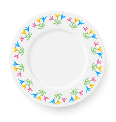 Plate with a pattern of lilies on a white vector