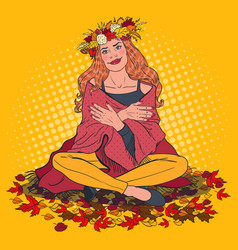 Pop art happy woman on autumn day in the park vector