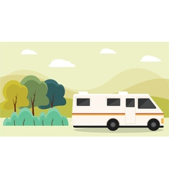 RV parked in mountains vector image