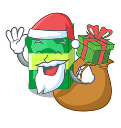 Santa with gift set money in packing bundles vector
