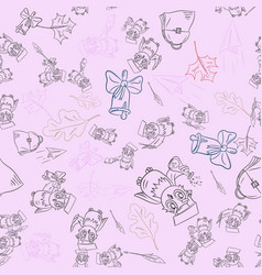 Seamless pattern outline 5 sketch on school theme vector