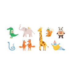 set childish cute animal characters design vector image