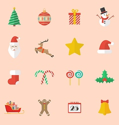 Set of Christmas Flat Icon vector image