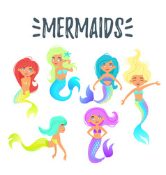 set of cute mermaid character vector image