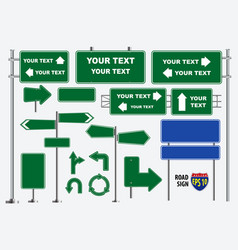 Set of green road signs isolated vector