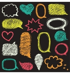 Set of hand drawn speech and thought bubbles vector image