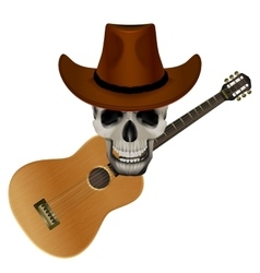 Skull wearing a cowboy hat on a background of vector