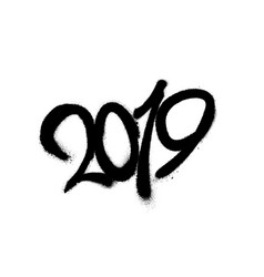 sprayed 2019 font graffiti with overspray in black vector image