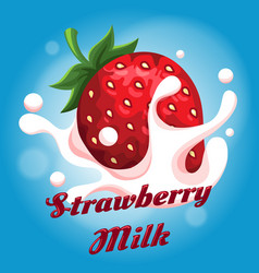 Strawberry milk emblem vector