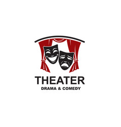 Theatrical scene with masks icon vector