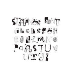 various shapes abc letters hand drawn with ink and vector image