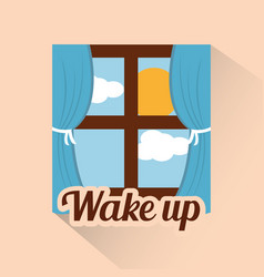 Wake up window morning cloud sun day vector