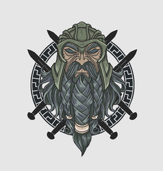 Warrior long beard head vector