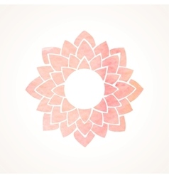 Watercolor pink frame with lotus flower pattern vector