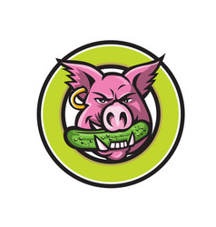 wild pig biting pickle circle mascot vector image