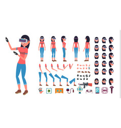woman in virtual reality headset animated vector image