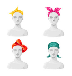 women bandanas set large coloured head vector image