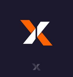 X monogram white orange ribbon origami vector