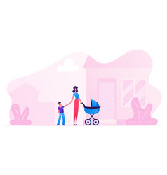 young woman with bastroller holding hand of vector image