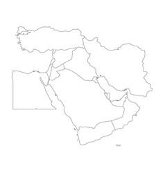 blank map of middle east or near east simple vector image