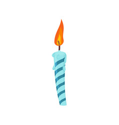 candle birthday cake festive blue candle isolated vector image