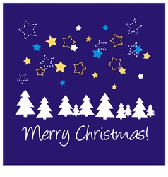 Christmas blue card or invitation with wishes vector