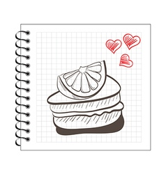 doodle orange cake slice on notebook paper vector image vector image
