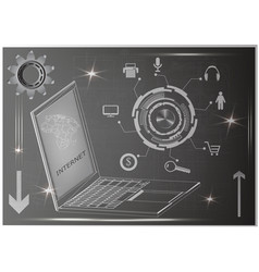 laptop and gear vector image