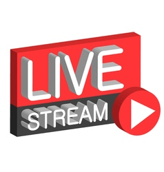 Live stream 3D button vector image vector image