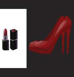 Pair red shoe with high heel and red lipstick vector