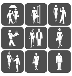 People icon set Standing woman man waiter vector image