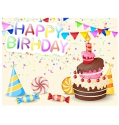 Birthday background with birthday cake vector image