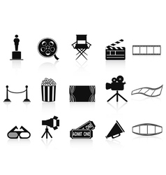 black movies icons set vector image