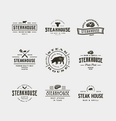 set of vintage steak house logos vector image