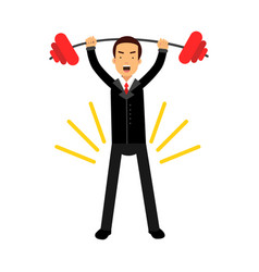 Businessman character lifting barbell up over head vector