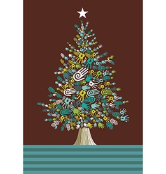 Diversity Christmas Tree hands card vector image